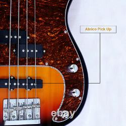 4 String Electric Bass with Bag Straps Line Wrench Tool Sunburst Color