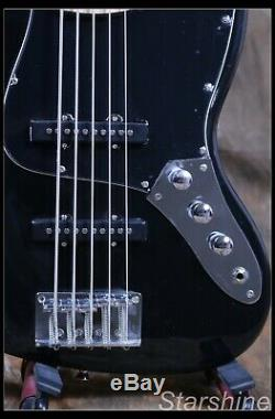 5 String Electric Jazz Bass Basswood Body Maple Fingerboard Black Color