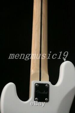 5 Strings Jazz Bass Electric Bass Guitar Gloss White Basswood Body Maple Venner