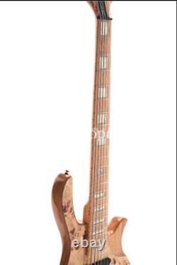 6 Strings Electric Bass Burl Top Active Pickups Gold Hardware ASH Body Starshine