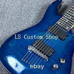 7 Strings Electric Guitar Flamed Maple Veneer Strings Thru Body Basswood