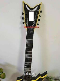 Custom 7-string Dimebag special-shaped electric guitar yellow binding Free Ship
