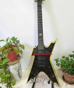 Custom 7-string Dimebag special-shaped electric guitar yellow binding replica