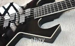 Custom Black Unusual Shape Electric Bass Guitar with 5 Strings, Black Hardware, Wh