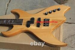 Custom Natural Wood Color Electric Bass Guitar with 4 Strings Neck-through Body