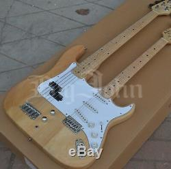 Double Neck BJST Electric Guitar and 5 Strings Electric Bass, Double Head Guitar