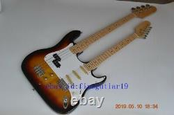 Double neck sunburst 6 string electric guitar and 4 string bass