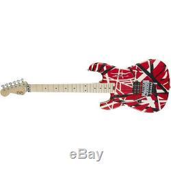EVH Striped 6-String Left Handed Guitar, Red/Black and White Stripes #5107912503
