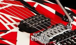 EVH Striped Series 6 String Electric Guitar Red White Black Frankenstrat