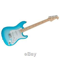 Electric Guitar 6 String Solid Body Basswood with Protective Gig Bag Blue