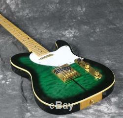 Electric Guitar Truff Dog TL Quilted Maple Gold Haredware String Thru Body Green