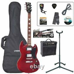 Encore E69 Electric Guitar Package Amp Tuner Strap Stand Strings Bag Cherry Red
