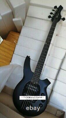 Factory Custom Handmade Electric Bass Guitar Metal Black 5 Strings Active Pickup