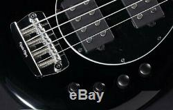 Floor Model MUSIC MAN Bongo Black Active Bass 4 String HH Long Scale WithHSC