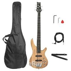 Full Scale 5 String IB Electric Bass Guitar with Gig Bag Natural