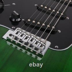 Full Size Left Hand Green 6 String Electric Guitar S Style Body with Gig Bag