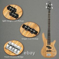 Glarry GIB Electric Bass Guitar Full Size 4 String Burlywood