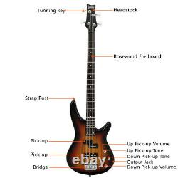 Glarry GIB Electric Bass Guitar Full Size 4 String Sunset Color