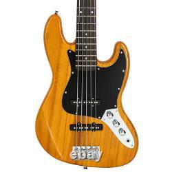 Glarry Gjazz Electric 5 String Bass Guitar Full Size Transparent Yellow