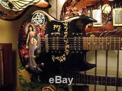 Hand-carved and painted 6-string electric guitar, right-handed, solid wood