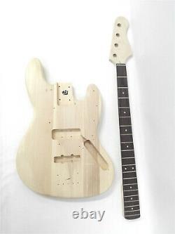 Haze HSJB 19580 No-Soldering 4-String Electric Bass Guitar DIY Kit+3 Picks, Tuner
