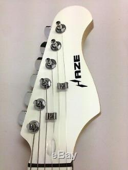 Haze New 6 String Electric guitar White Gloss With Gift Pack E-211WH