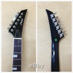 Haze SEG-258GRS Neck-Thru Electric Guitar, Black Green Sunburst +Free Bag, Strings