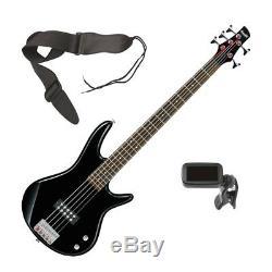 Ibanez GSR105EX 5-String Bass Guitar Black BONUS PAK