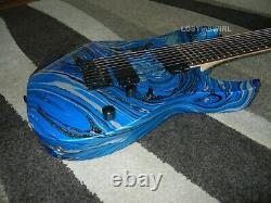 Ibanez RG8004 Blue Silver and Black Swirl 8 String Fixed Bridge RG Jem