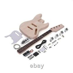 JAZZ Bass 4 String Electric Bass Solid Basswood Body DIY Kit Set New for Student