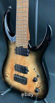 Jackson PRO MM Juggernaut HT7P 7-String Electric Guitar Black Burst Burl Finish