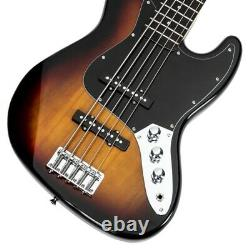 Jazz Style 5 String Electric Bass Full Size Guitar Sunburst