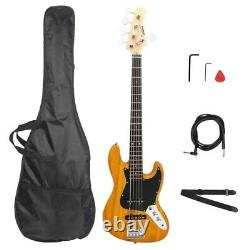 Jazz Style 5 String Electric Bass Full Size Guitar Yellow