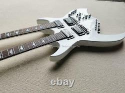 LS Custom Shop Double Neck White Color 12/6 Strings Top Quality Electric Guitar