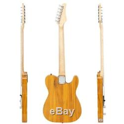 Left Hand Transparent Yellow Natural 6 String T Style Electric Guitar withGig Bag