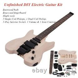 Muslady Unfinished Electric Guitar Kits 6 Strings Paint DIY Guitar Gift V5K7