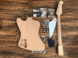 New 6 String Mahogany Solid Body Firebird Style Electric Guitar Builder Kit