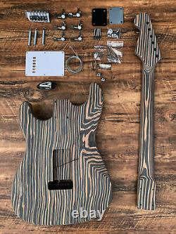New 6 String Zebrawood Solid Body St-caster Style Electric Guitar Builder Kit