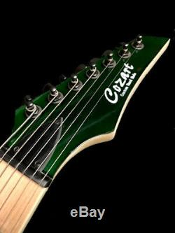 New Custom 7 String Transparent Green Electric Guitar-amazing Tone