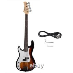 New Full Size Left Hand 4 String Electric Bass Guitar with Gig Bag Sunburst