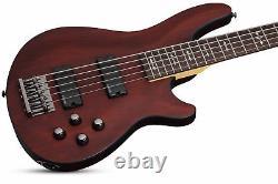 Schecter OMEN-5 5-String Bass Guitar, Walnut Satin, 2094