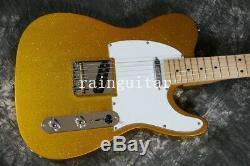 TL Custom Shop Electric Guitar Gold Top Strings Thru Body