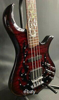 Traben Phoenix 4-String Electric Bass Guitar Quilted Black Cherry Finish