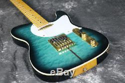 Truff Dog TL Electric Guitar Quilted Maple Gold Haredware Strings Thru Body Blue