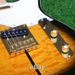 Tuff Dog Tele Electric Guitar Quilted Maple Top Veneer String Thru Body Sunburst