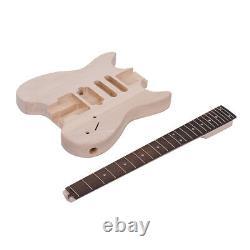 Unfinished 24 Frets 6 Strings DIY Electric Guitar Kit Basswood Body Gift V3O8